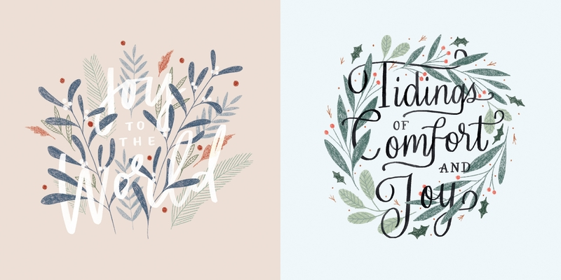 Image for Floral Foliage 10-Pack Christmas Cards: Joy to the World and Tidings of Comfort and Joy