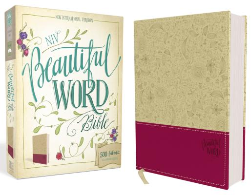 "Image for ""NIV, Beautiful Word Bible, Imitation Leather, TanPink: 500 Full-Color Illustrated Verses"""