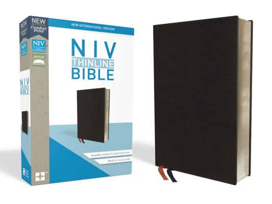 NIV, Thinline Bible, Bonded Leather, Black, Indexed, Red Letter Edition, Comfort Print, Zondervan