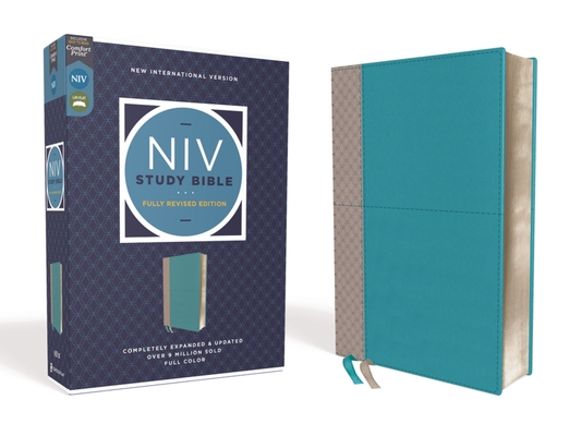 Image for NIV Study Bible, Fully Revised Edition, Leathersoft, Teal/Gray, Red Letter, Comfort Print
