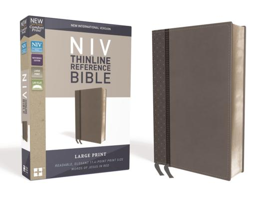 Image for NIV, Thinline Reference Bible, Large Print, Leathersoft, Gray, Red Letter Edition, Comfort Print