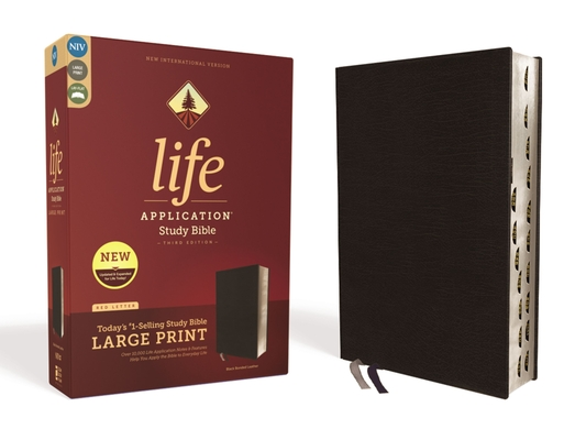 Image for NIV, Life Application Study Bible, Third Edition, Large Print, Bonded Leather, Black, Red Letter Edition, Thumb Indexed
