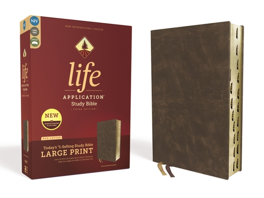 Image for NIV, Life Application Study Bible, Third Edition, Large Print, Bonded Leather, Brown, Red Letter Edition, Thumb Indexed