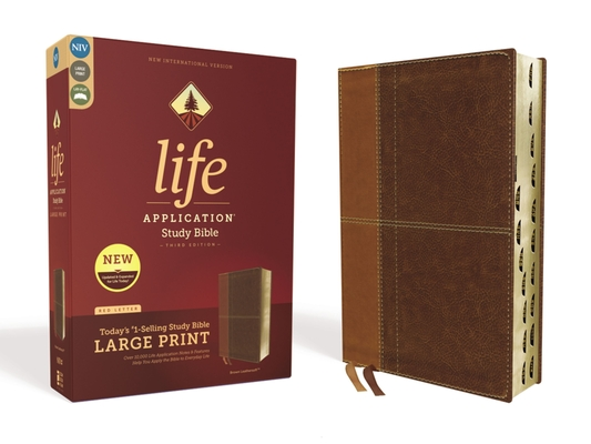 Image for NIV, Life Application Study Bible, Third Edition, Large Print, Leathersoft, Brown, Red Letter Edition, Thumb Indexed