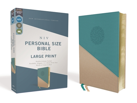 Image for NIV, Personal Size Bible, Large Print, Leathersoft, Teal/Gold, Red Letter Edition, Comfort Print