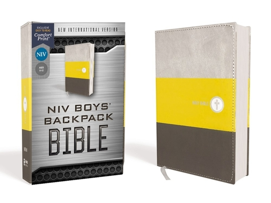 Image for NIV, Boys' Backpack Bible, Compact, Leathersoft, Yellow/Gray, Red Letter Edition, Comfort Print