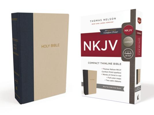 Image for NKJV, Thinline Bible, Compact, Cloth over Board, Blue/Tan, Red Letter Edition, Comfort Print: Holy Bible, New King James Version