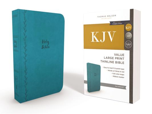 KJV, VALUE THINLINE BIBLE, LARGE PRINT, LEATHERSOFT, BLUE, RED LETTER EDITION, COMFORT PRINT: HOLY B, NELSON, THOMAS