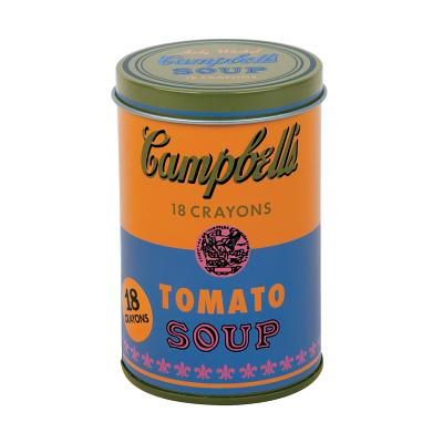 Image for Mudpuppy Andy Warhol Soup Can Crayons, Orange, Includes 18 Crayons Inspired by Iconic Andy Warhol Piece, Warhol-Inspired Crayon Colors in Orange and Blue Tin, Ideal Art Lovers Gift