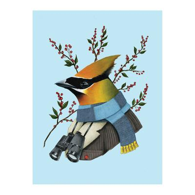 Image for Berkley Bestiary Winter Waxwing Large Embellished Holiday Notecards