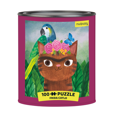 "Image for Mudpuppy Frida Catlo Artsy Cat Puzzle Tin, 100 Pieces, 12""x12"" - Perfect Family Puzzle for Ages 6+ - Colorful Feline Portraits Inspired by Great Artists - Paint Can Package - Fun Indoor Activity"