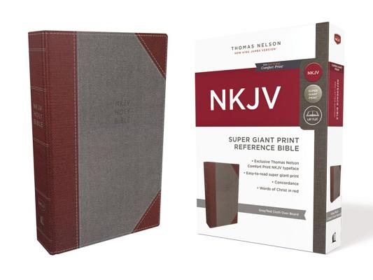 "Image for ""NKJV Comfort Print Reference Bible, Super Giant Print, Cloth over Board, Gray and Red"""