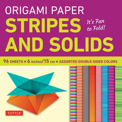 """Image for Origami Paper - Stripes and Solids 6"""" - 96 Sheets: Tuttle Origami Paper: High-Quality Origami Sheets Printed with 8 Different Patterns: Instructions for 6 Projects Included"""