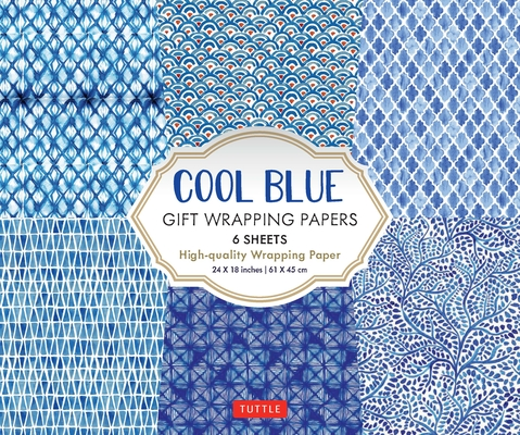 Image for Cool Blue Gift Wrapping Papers: 6 Sheets of High-quality 24 x 18 inch Wrapping Paper
