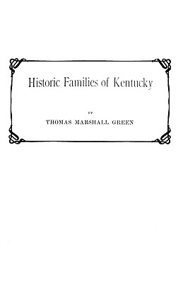 Image for Historic Families of Kentucky
