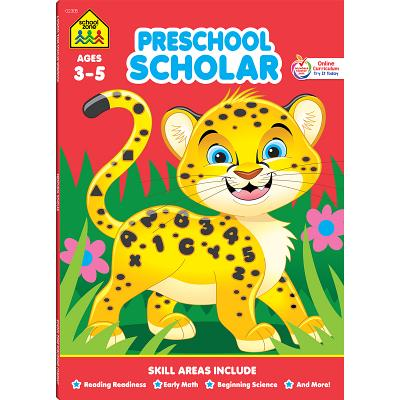 Image for School Zone - Preschool Scholar Workbook - 64 Pages, Ages 3 to 5, Preschool to Kindergarten, Reading Readiness, Early Math, Science, ABCs, Writing, and More (Deluxe Edition 64-Page)