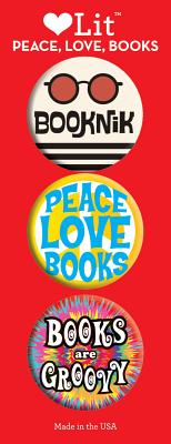 Image for PEACE, LOVE, BOOKS 3-BUTTON ASSORTMENT