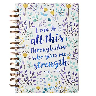 "Image for Large Hardcover Notebook/Journal | I Can Do All This Through Him – Philippians 4:13 Bible Verse | Purple Floral Inspirational Wire Bound Spiral Notebook w/192 Lined Pages, 6"" x 8.25""JLW044"