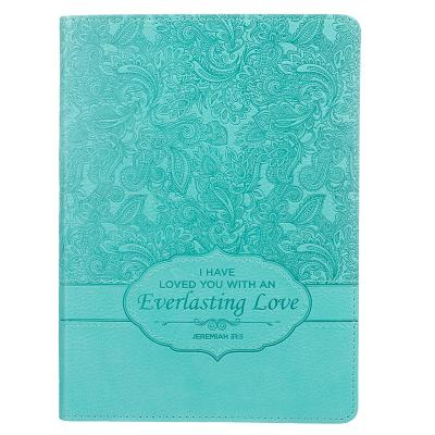 Image for JL191 Christian Art Gifts Teal Faux Leather Journal | Everlasting Love Jeremiah 31:3 | Handy-sized Flexcover Inspirational Notebook w/Ribbon Marker 240 Lined Pages, Gilt Edges, 5.5 x 7 Inches