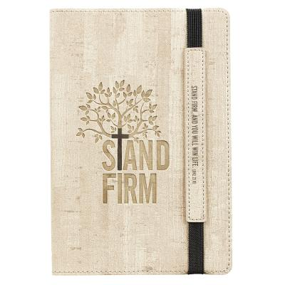 Image for JL357 Christian Art Gifts Tan Faux Leather Bullet Journal | Stand Firm - Luke 21:19 | Flexcover Inspirational Notebook w/Elastic Closure 160 Dot Grid Pages w/Scripture, 5.8 x 8.5 Inches