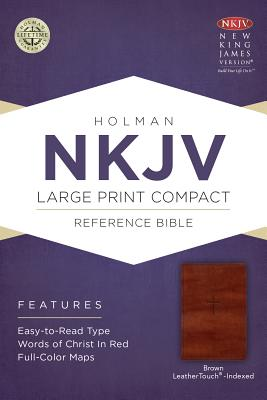 Image for NKJV Large Print Compact Reference Bible, Brown Cross LeatherTouch, Indexed