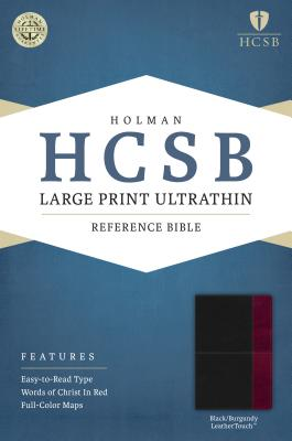Image for HCSB Large Print Ultrathin Reference Bible, Black/Burgundy LeatherTouch