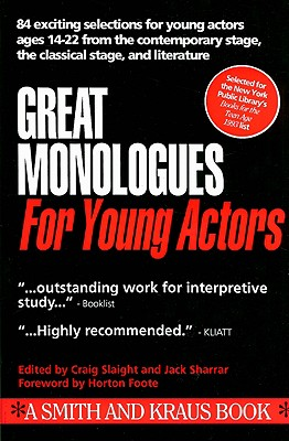 Image for Great Monologues for Young Actors Volume I (Young Actors Series)