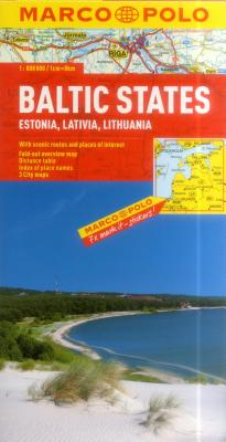 Image for ESTONIA, LATVIA LITHUANIA BALTIC STATES - MAP- WITH SCENIC ROUTES AND PLACES OF INTEREST FOLD OUT OVERVIEW MAP DISTANCE TA